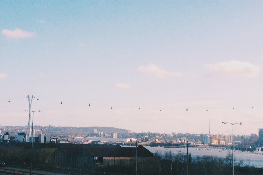 View of the cable cars on the DLR approach to Royal Victoria